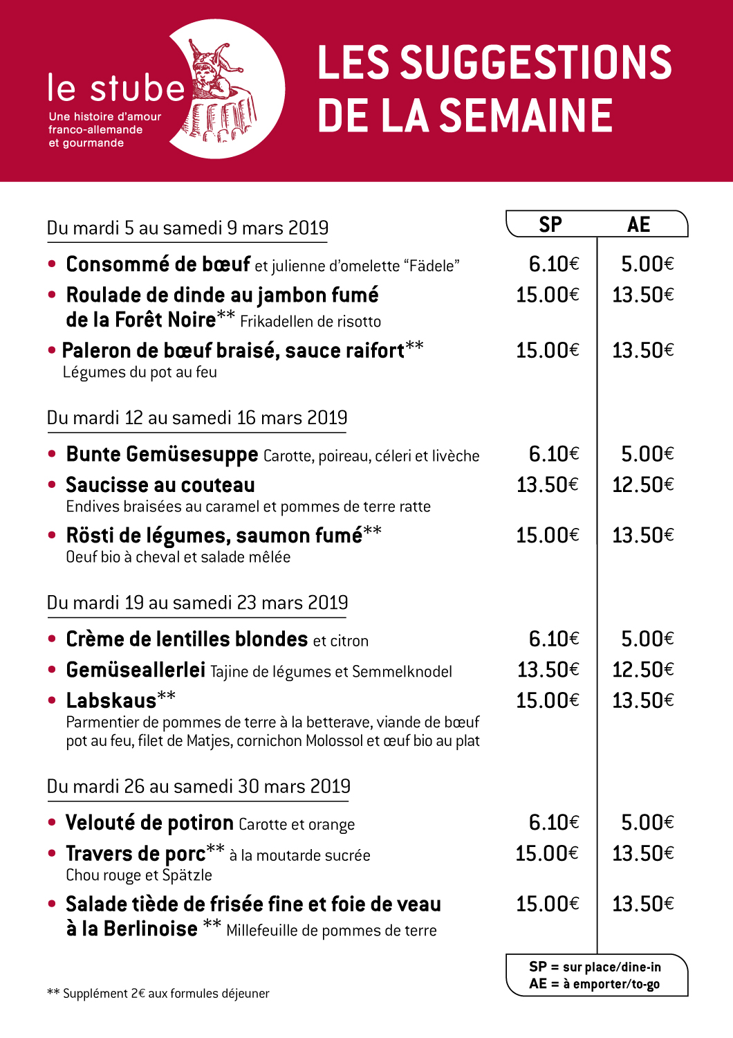 Suggestions semaines 10 à 13-2019