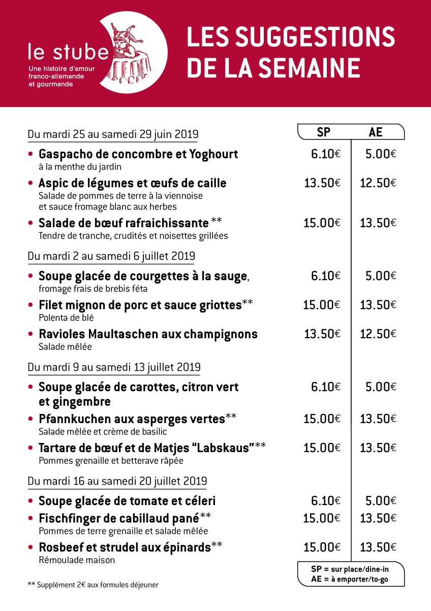 Suggestions semaines 26 à 29-2019