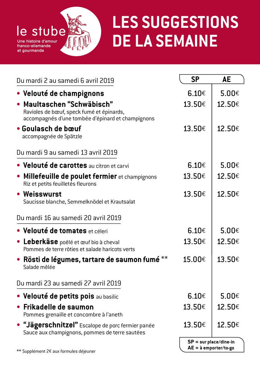 Suggestions semaines 14 à 17-2019