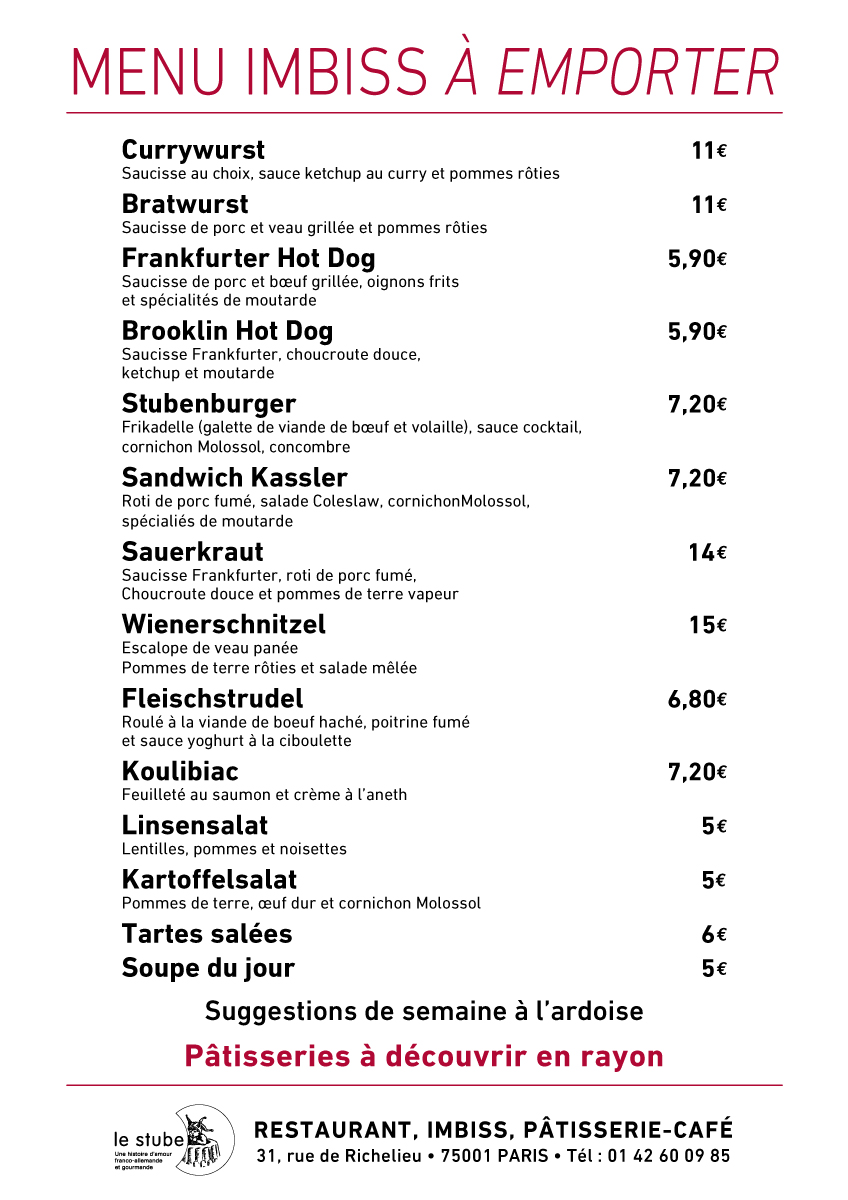 Notre menu à emporter